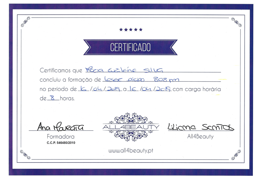 Certificado Lene Silva